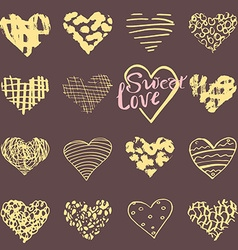 Hand drawn hearts symbols and lettering for vector