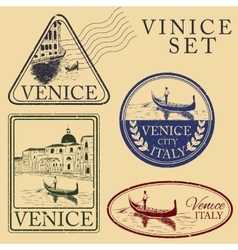 Streets in venice stamp set vector