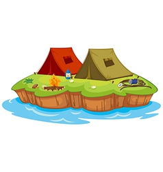 Base camp on an island vector