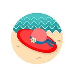 Beach hat icon summer vacation vector