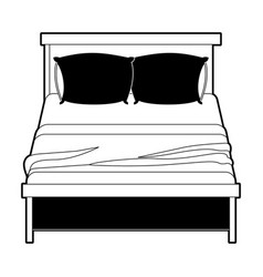 bed wooden with blanket and pair pillows black vector image vector image