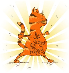 Cartoon red cat doing warrior position of yoga vector