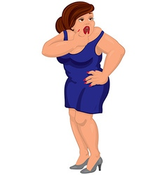 Cartoon young fat woman in blue dress touching her vector image vector image
