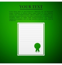 Certificate template flat icon on green background vector