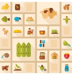 Colorful farm garden flat icon with long shadow vector