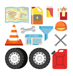 driver items set automobile objects vector image vector image