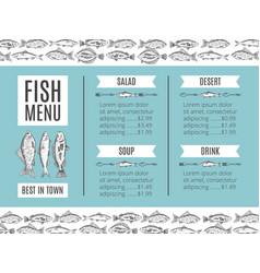 Fish menu of the restaurant vector