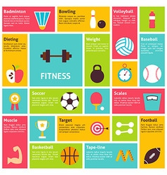 Flat Design Icons Infographic Sport Recreation vector image