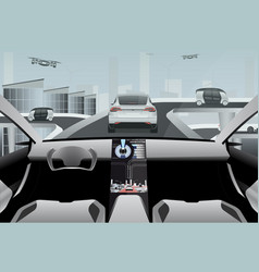Futuristic self driving car on a high-tech road vector