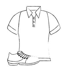 Golf shirt uniform with shoe vector