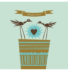 Happy love happy birds vector image vector image