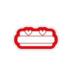 Paper sticker on white background bed honeymoon vector