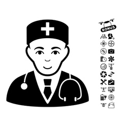 Physician Icon With Copter Tools Bonus vector image