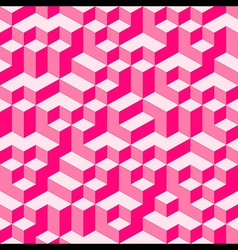 Pink geometric volume seamless pattern background vector