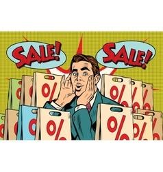 Pop art man buyer percent off sale vector