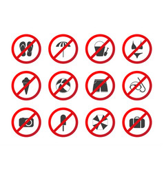 Set of travel prohibition icons beach restriction vector