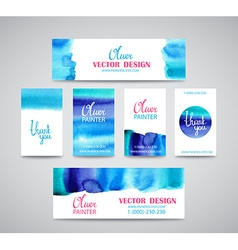 Set of watercolor business cards template and vector