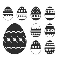 set of white easter eggs isolated on a black vector image