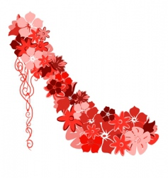 Shoes from the red flowers vector