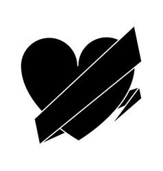 silhouette love heart wrap ribbon celebration vector image