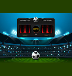 Soccer football field with scoreboard and vector