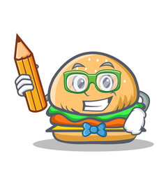 Student burger character fast food with pencil vector
