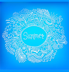 Summer round shape doodle frame made of abstract vector