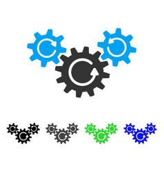 Transmission wheels rotation flat icon vector
