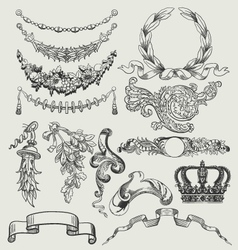 Vintage floral wood print decorative elements vector