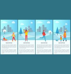 Wintertime activities poster vector