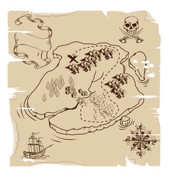 ye olde pirate treasure map vector image