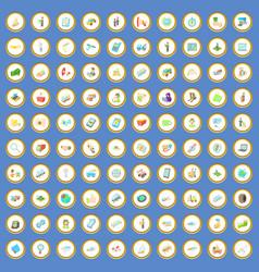 100 transport management icons set cartoon vector