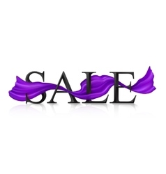 Black sale sign with violet silky ribbon vector