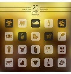 Set of milk icons vector