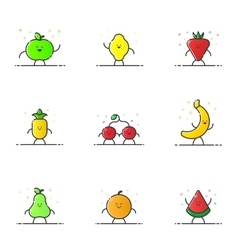 Funny fruit characters vector