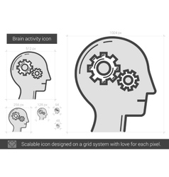 Brain activity line icon vector