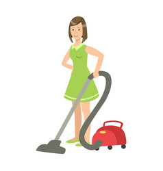 Woman cleaning the floor with vacuum cleaner vector