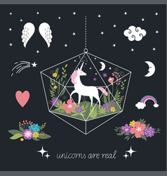 unicorns flowers decor elements fantasy vector image
