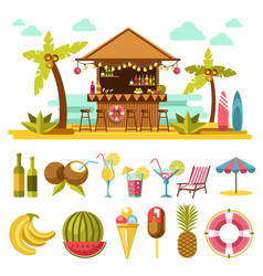 Beach entertainments and set of elements below on vector