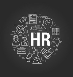 Concept human resources on black vector