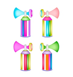 Set of colorful air horn on whit background vector