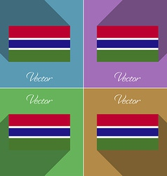 Flags gambia set of colors flat design and long vector