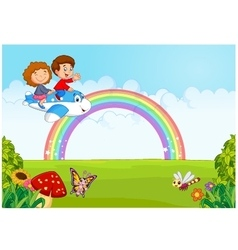 Little kid operating a plane with rainbow vector