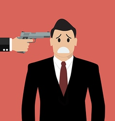 Gun point to businessman head vector