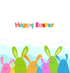 Easter bunnies card vector