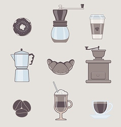 Set of coffee types and coffee accessories vector