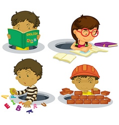 Kids playing and doing activities vector
