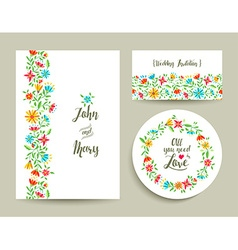 Flower wedding card invitation with nature design vector image
