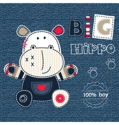 Jeans background with cute hippo converted vector
