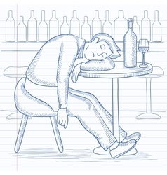 Man sleeping in bar vector